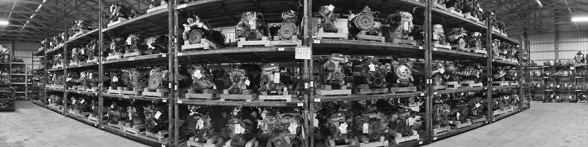 Used engines in the warehouse at Doug's Auto Recyclers in Coldwater, MI